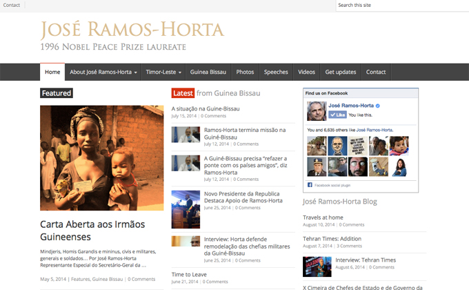 Web and Social Media: Nobel laureate José Ramos-Horta